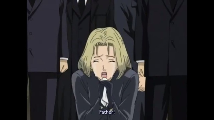 Monster Eva mourning over her father the director