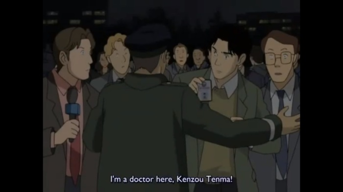 Tenma rushes into hospital monster